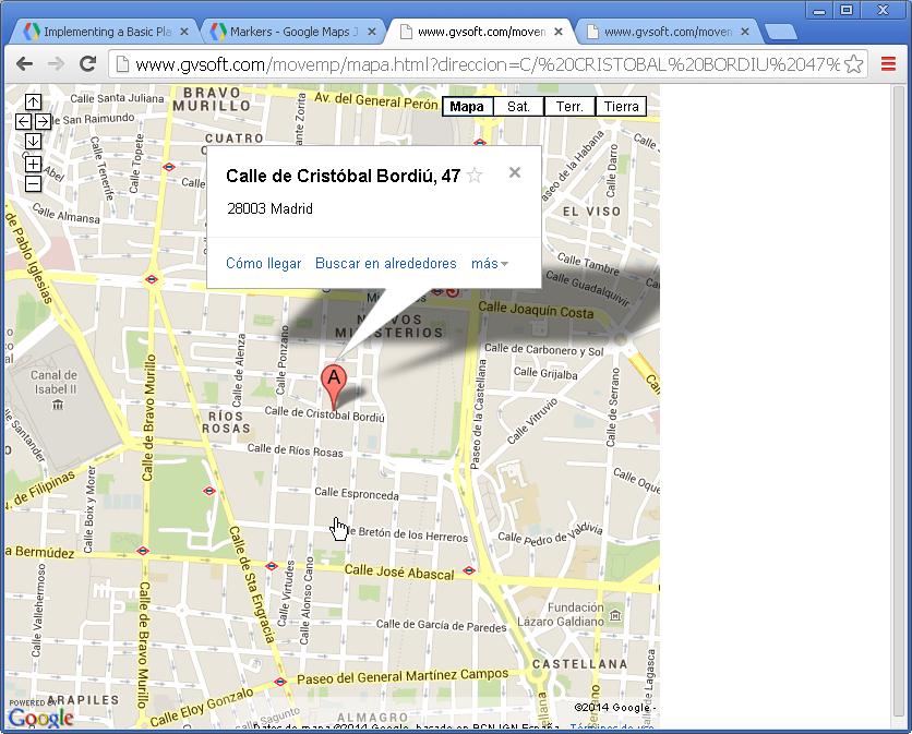 Buscador móvil empresas - localización en mapa