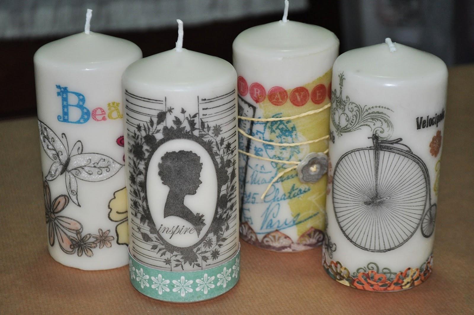 velas decoradas con sellos - Velas Decoradas