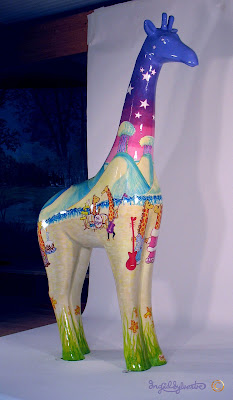 Nextra-terrestrial giraffe by Ingrid Sylvestre, Stand Tall for Giraffes at Colchester Zoo.