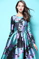 New 2016 Elegant Long Sleeve Silky Blue Purple Floral Print Flare Maxi
