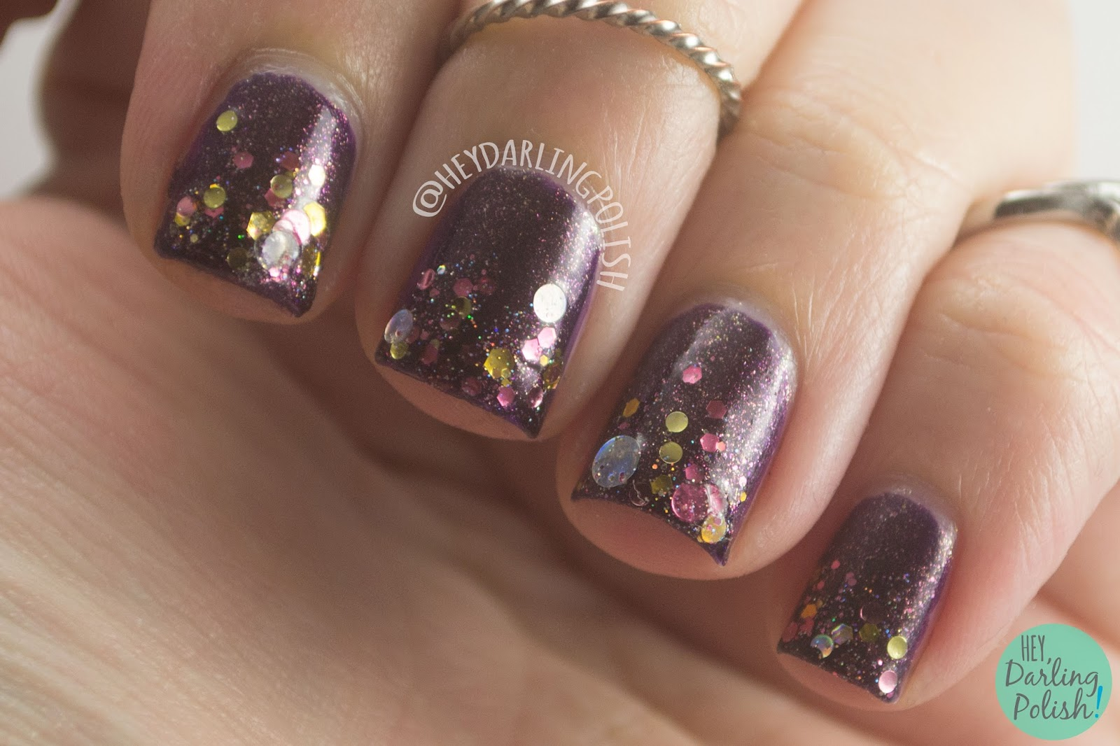 glitter gradient, toast-ess with the mostest, purple, sparkle, nails, nail polish, indie, indie polish, indie nail polish, kbshimmer, hey darling polish, glitter