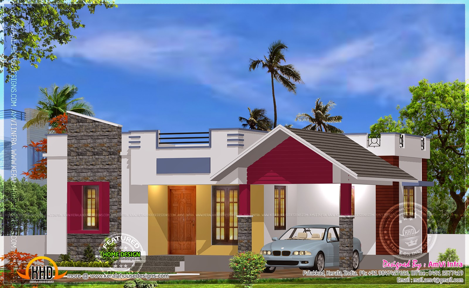 900 sqfeet free single storied house Kerala home design and