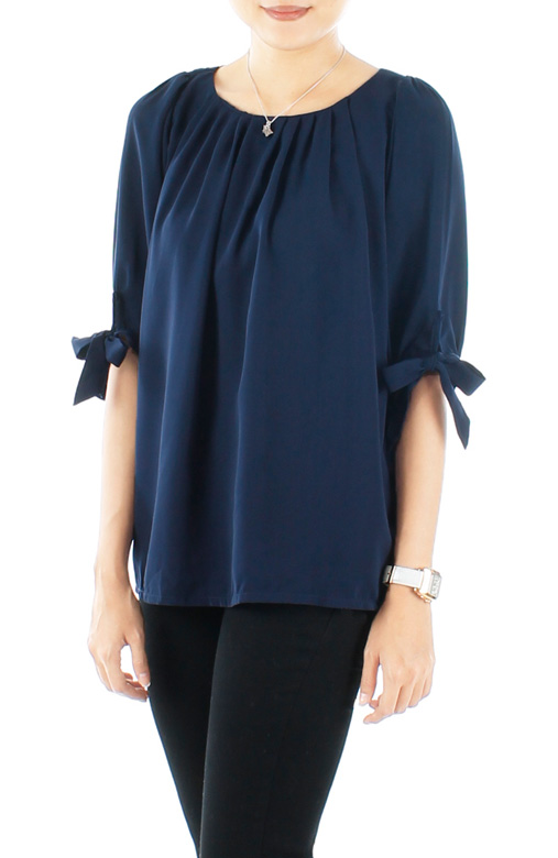 Midnight Prairie Ribbon Tie Sleeved Blouse