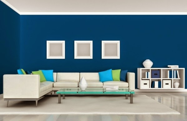 Modern Living Room Color Schemes Blue Wall Paint Green Pillows