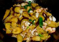 Stir fired aubergine and seafood