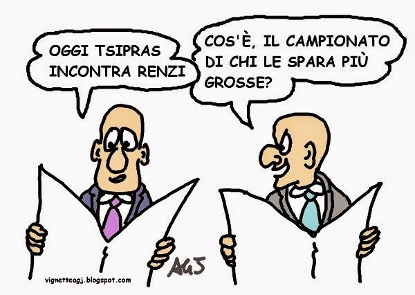 Renzi, Tsipras, vignetta satira