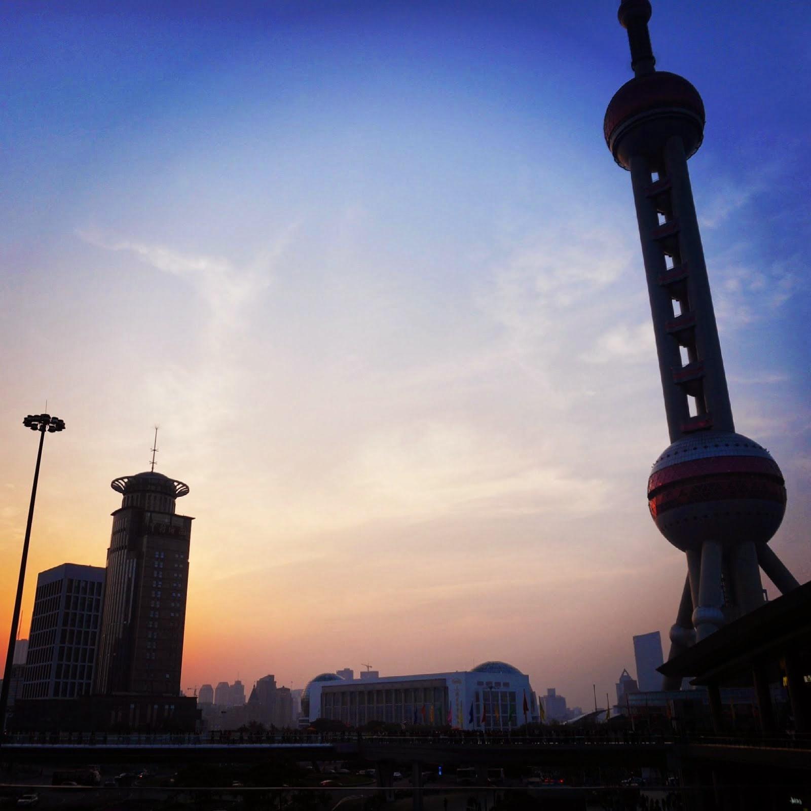 ORIENTAL PEARL TV TOWER SHANGHAI CHINA SUNSET