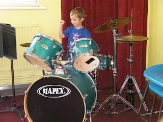 drum kit in recording studio