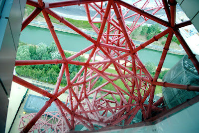 Looking down the red steel structure of ArcelorMittal Orbit