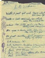 Imagen con el manuscrito original de la letra de la canción L.A. Woman de los Doors