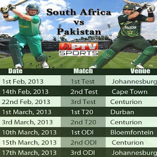 PAK VS SA all matches live on PTV SPORTS