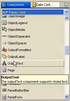 components palette outputtext