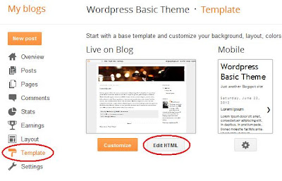 Edit the HTML of your Blogger template