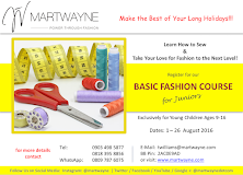 Basic Fashion Course for Juniors (ages 9-16) Start Date: 1 August, 2016. Register Now!