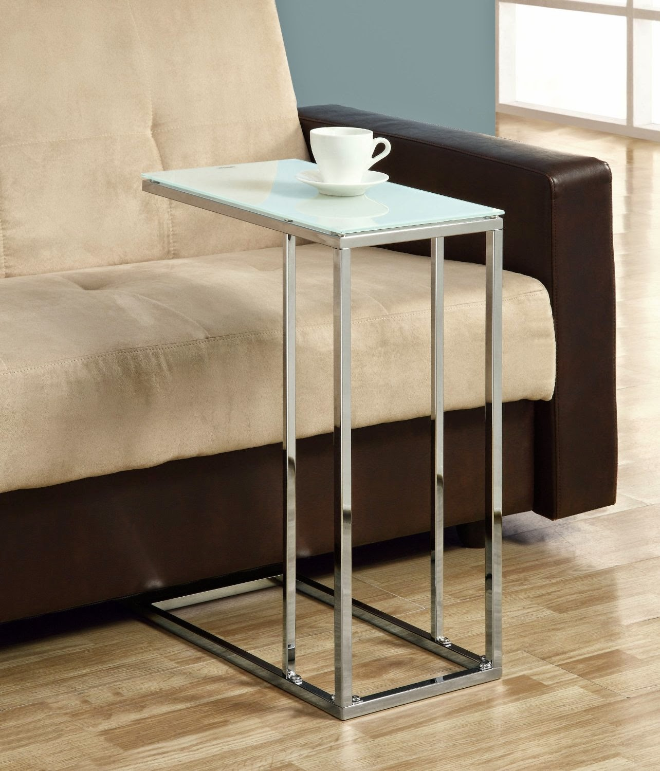 Small Drink Table Part - 41: White Glass Modern Under-Couch Snack/Drink Table