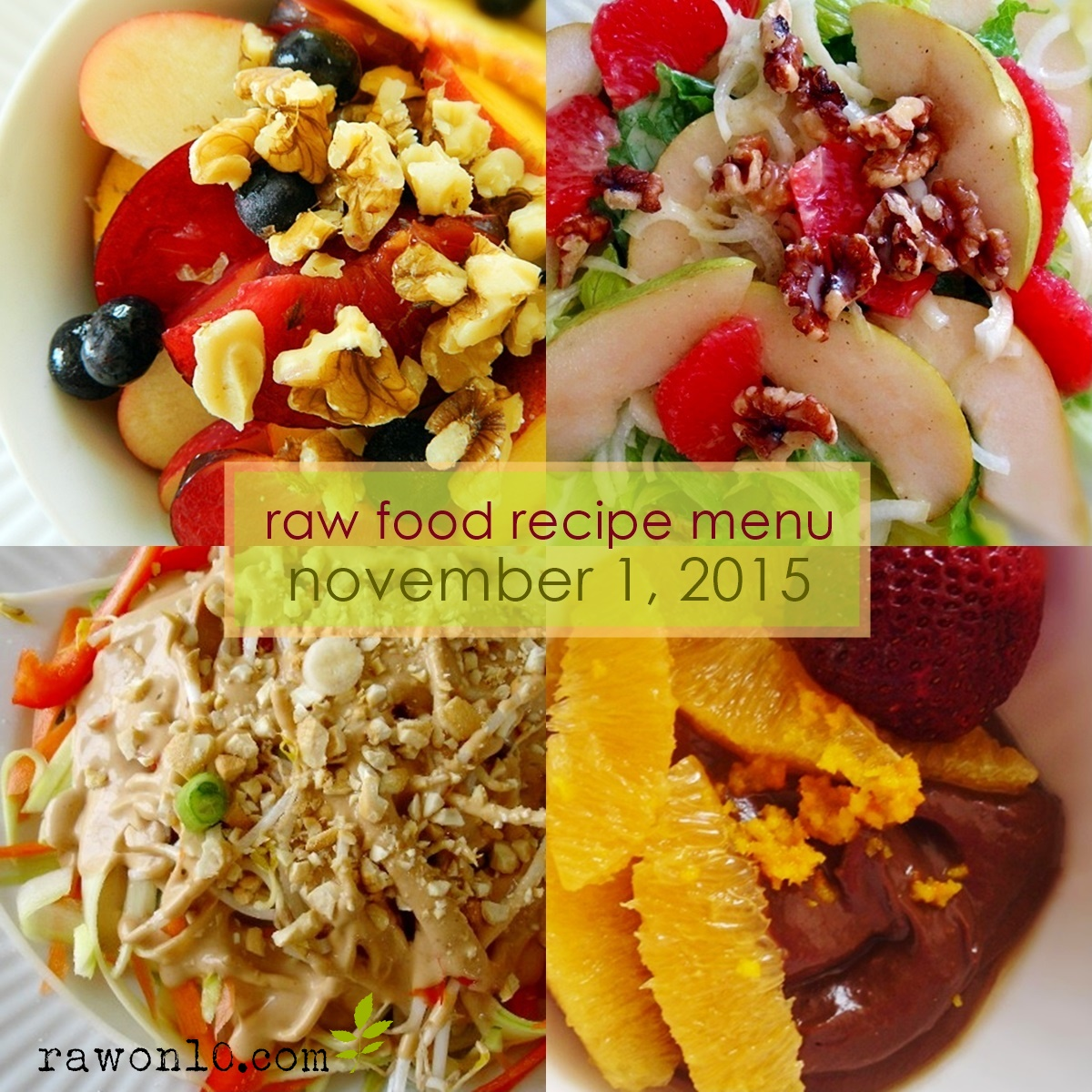 Raw on 10 a day or less raw food recipe menu november 1 2015 raw food recipe menu november 1 2015 forumfinder Choice Image