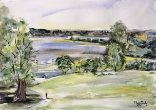 Wonderful Landscape by the Sea, Watercolor Painting on paper  size 29.5 x 42 cm