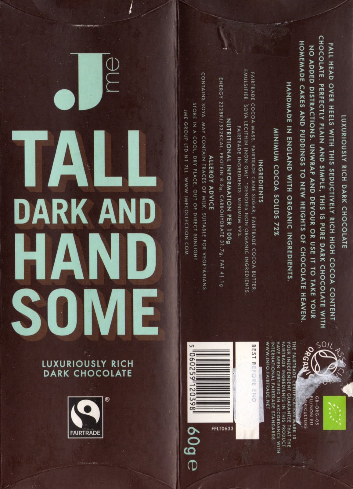 tablette de chocolat noir dégustation jme tall dark and handsome