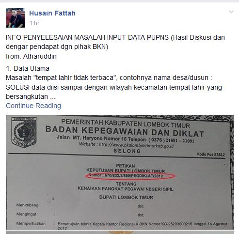 Info Penyelesaian Masalah Input Data PUPNS dari BKN