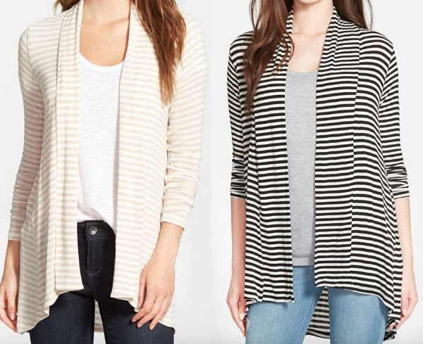 Fall fashion - Bobeau striped cardigan, perfect with jeans or leggings for Fall