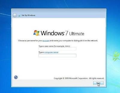 cara instal windows 7 memasukan nama untuk komputer