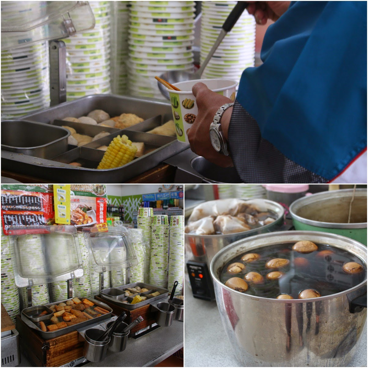 Chinese Tea Marble Eggs and Guan Dong Zhu (Yong Tau Foo) are Taiwanese Specialty Food which can be found in Alisan, Taiwan