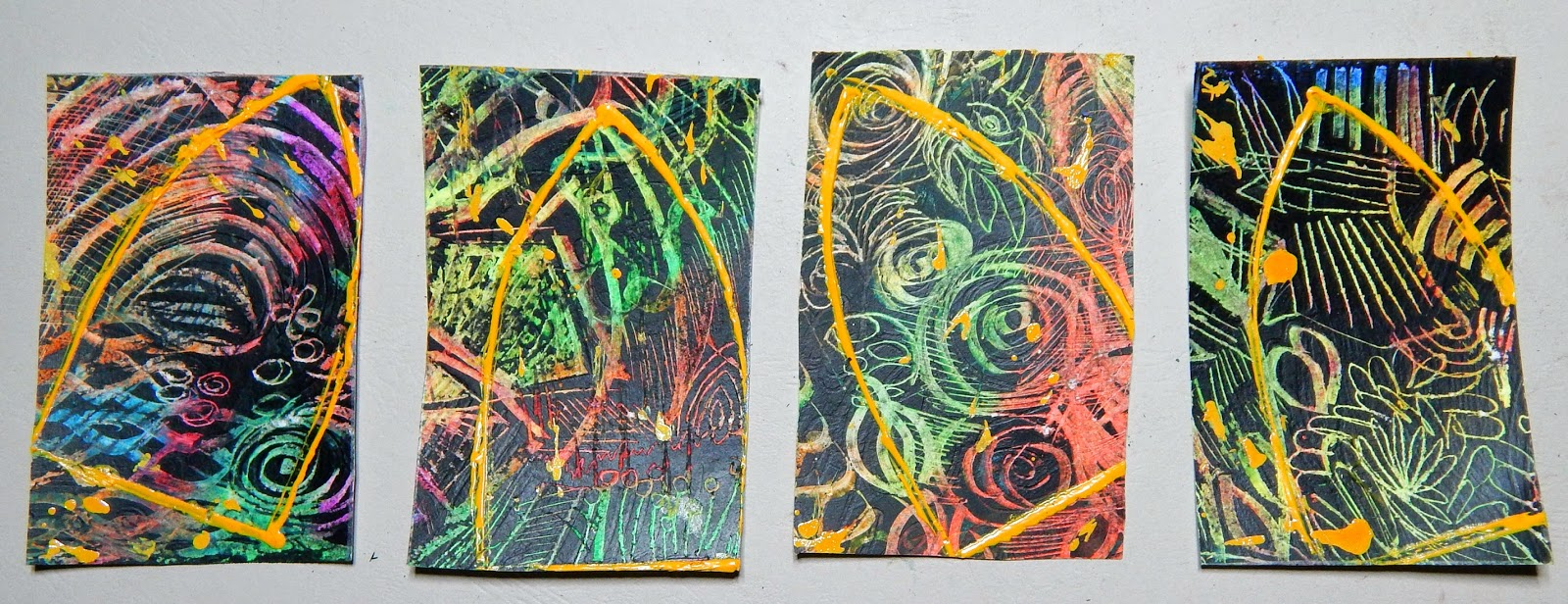 homemade diy scratchboard art ATC stained glass
