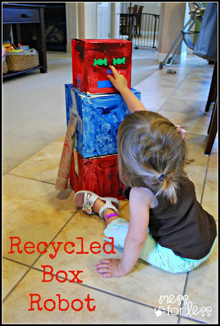 Recycled Robot - Make a robot some recycled boxes. A great way to use items from an over flowing recycling bin.