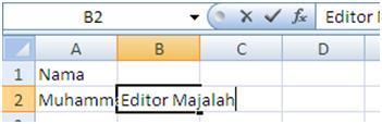 menulis data dalam ms excel