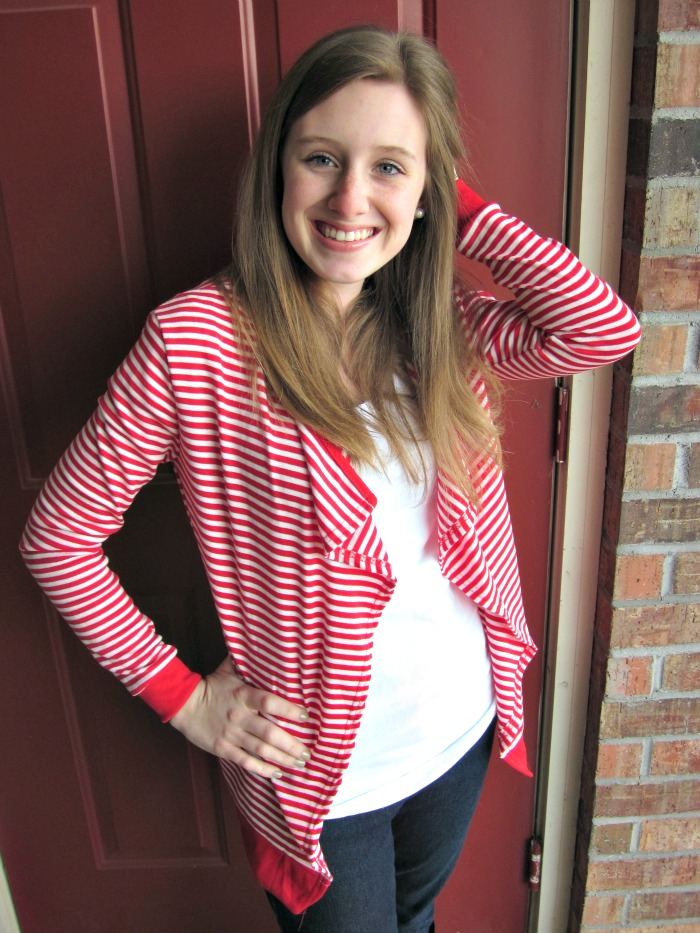 striped cardigan + skinny jeans