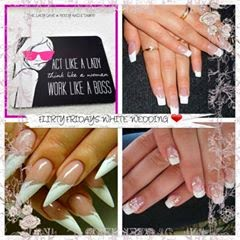 Acrylic extensions Shellac French manicure white wedding day nails