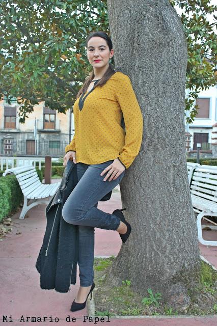 Outfit Blusa Mostaza - Mi Armario de Papel
