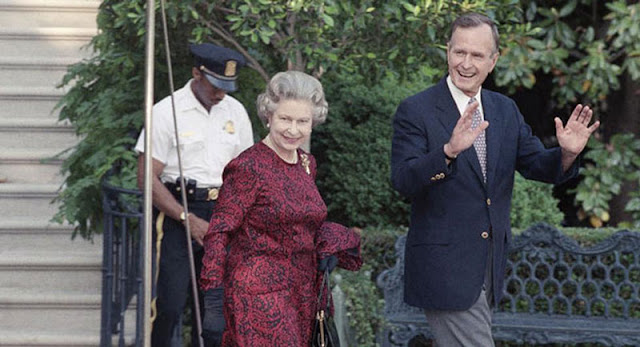 Queen Elizabeth and President George H.W. Bush