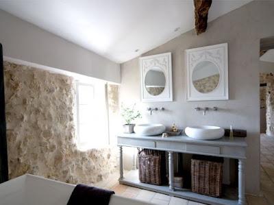 diseño baño piedras