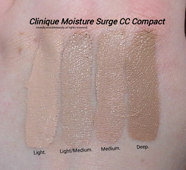 Clinique Moisture Surge CC Cream Compact Foundation SPF 25; Review & Swatches of Shades Light, Light/Medium, Medium, Deep