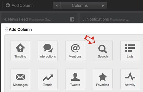 TweetDeck: how to add Search column.