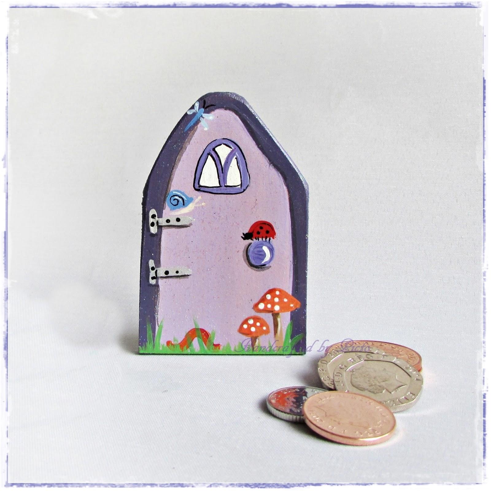 Handcrafted by picto a fairy door purple flowers for My fairy door uk