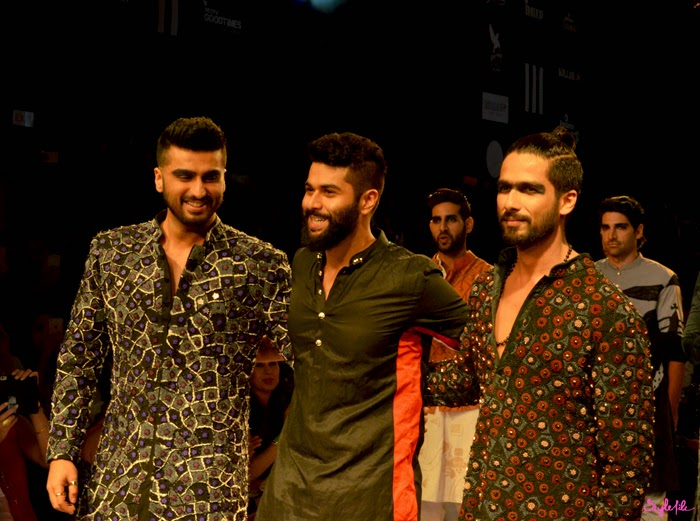 Bollywood superstars Arjun Kapoor and Shahid Kapoor play showstoppers in Kunal Rawal's collection as they take runway with the designer at Lakme Fashion Week Summer Resort 2015