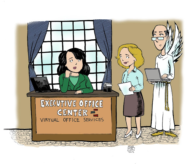 An angel shows up from the clouds requesting earthly virtual office services