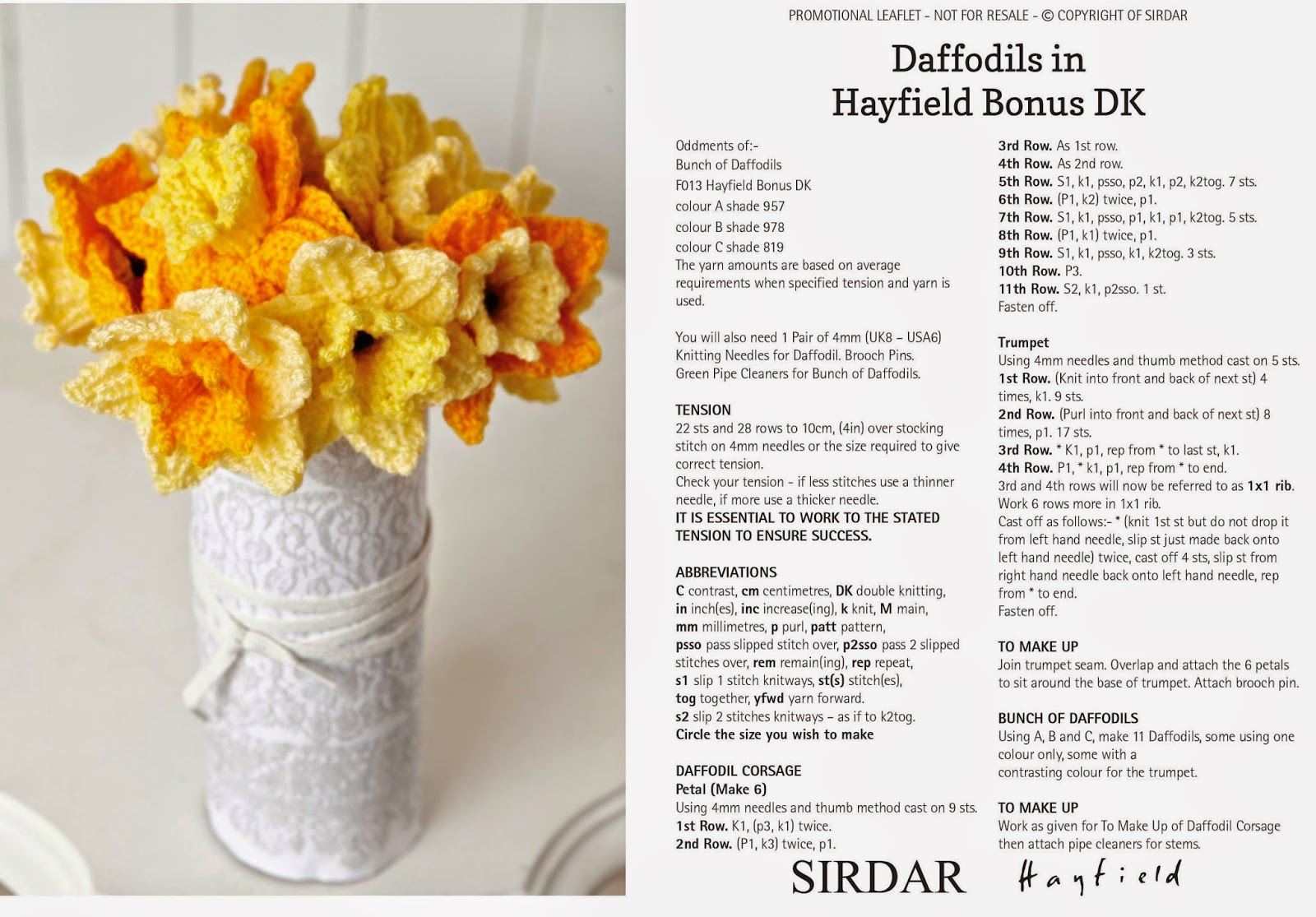 The Wool Shop Daffodil Day 2015 Spring Inspired Baby Blanket By