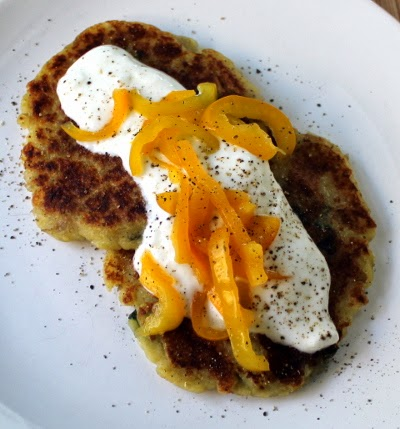 Mashed potato pancakes with yogurt and pickled peppers