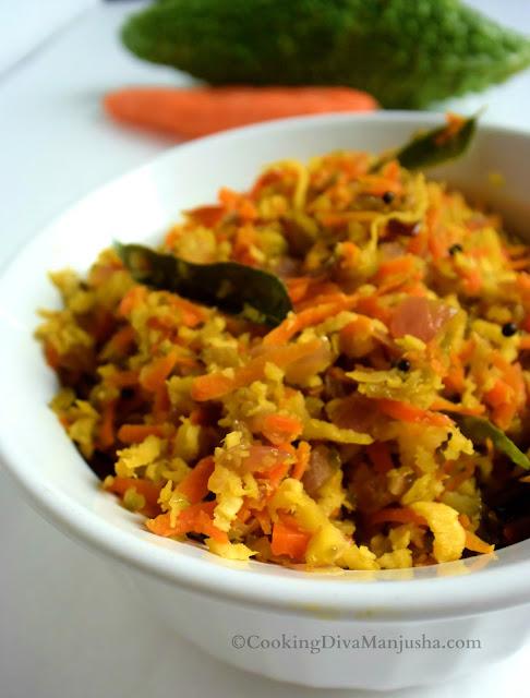 pavakka-bitter-gourd-recipe-carrot-thoran