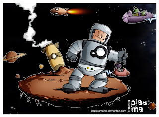 desenho bem pintado animado astronauta