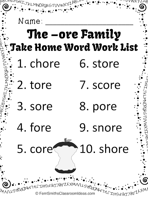 Fern's Freebie Friday ~ FREE Spelling The -ore Family Word Work Lists & Tests available at Fern Smith's Classroom Ideas Teachers Pay Teacher TpT Store.