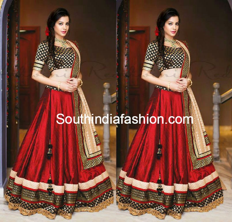 red and black half saree