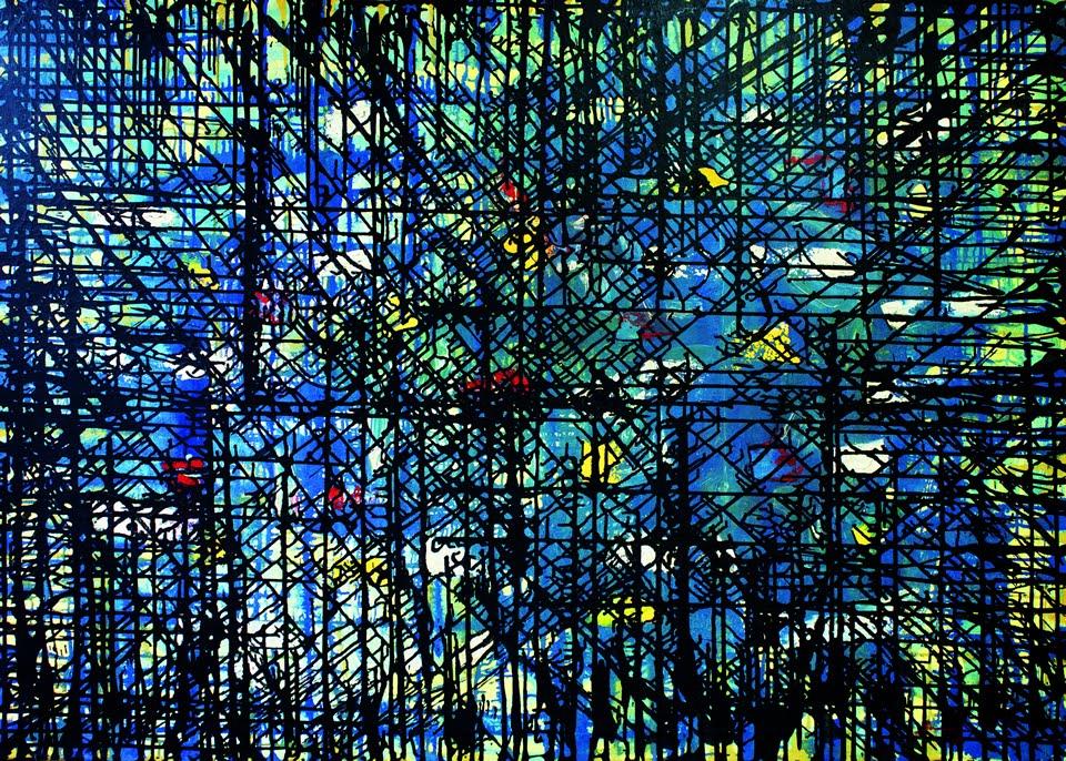 Antônio Bandeira. 'Abstrato'. Oleo sobre tela, 1964. 108 x 145 cm