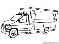 Halaman Mewarnai Gambar Mobil Ambulance