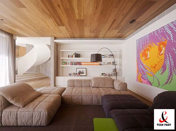 Mẫu trần nhà ốp gỗ
