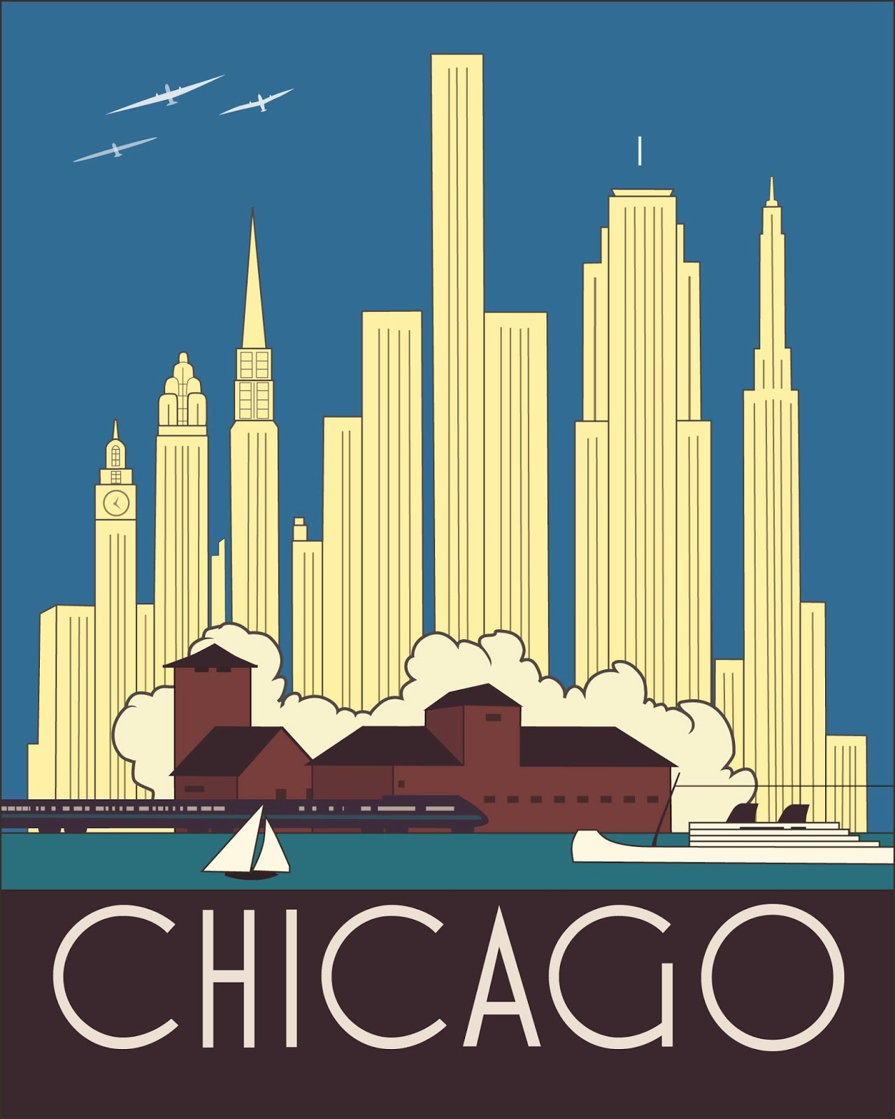 Chicago Art Deco Skyline Josef Spalenka Adobe Illustrator