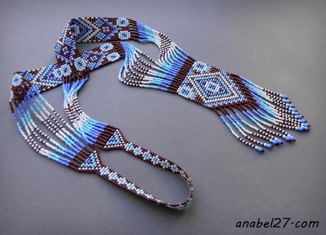 купить гердан гайтан голубой синий белый split loom necklace